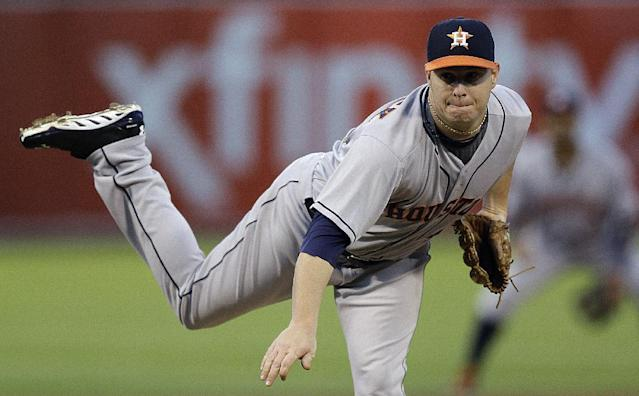 Houston Astros' Brad Peacock works against the Oakland Athletics in the first inning of a baseball game on Thursday, Sept. 5, 2013, in Oakland, Calif. (AP Photo/Ben Margot)