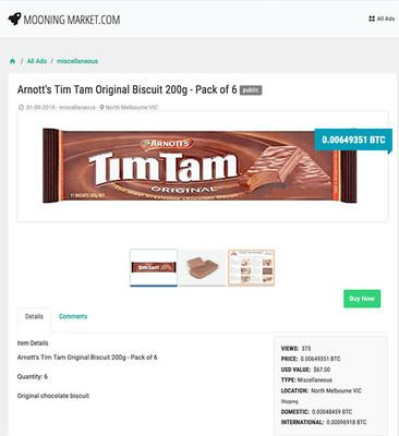Another listing for Tim Tams on Mooningmarket.com