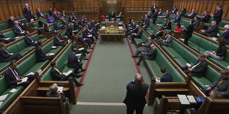 Screen grab of members of the House of Commons observing social distancing whilst Leader of the House of Commons Jacob Rees-Mogg making a statement to the House on coronavirus (COVID-19) relating to the finance bill which will be read tomorrow and debated . (Photo by PA Video/PA Images via Getty Images)