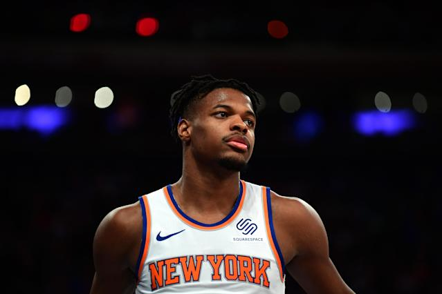 """<a class=""""link rapid-noclick-resp"""" href=""""/nba/players/5822/"""" data-ylk=""""slk:Dennis Smith Jr"""">Dennis Smith Jr</a>. of the <a class=""""link rapid-noclick-resp"""" href=""""/nba/teams/new-york/"""" data-ylk=""""slk:Knicks"""">Knicks</a> lost his stepmother just two days before his teammate <a class=""""link rapid-noclick-resp"""" href=""""/nba/players/5195/"""" data-ylk=""""slk:Reggie Bullock"""">Reggie Bullock</a> lost his sister. (Photo by Emilee Chinn/Getty Images)"""