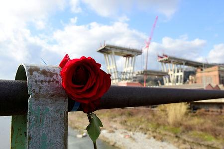 FILE PHOTO: A rose is placed on railings near the collapsed Morandi Bridge in Genoa, Italy, February 9, 2019.   REUTERS/Massimo Pinca/File Photo