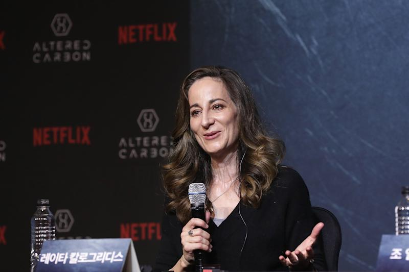 SEOUL, SOUTH KOREA - JANUARY 22: Screenwriter Laeta Kalogridis attends the press conference for NETFLIX's 'Altered Carbon' on January 22, 2018 in Seoul, South Korea. (Photo by Han Myung-Gu/WireImage)
