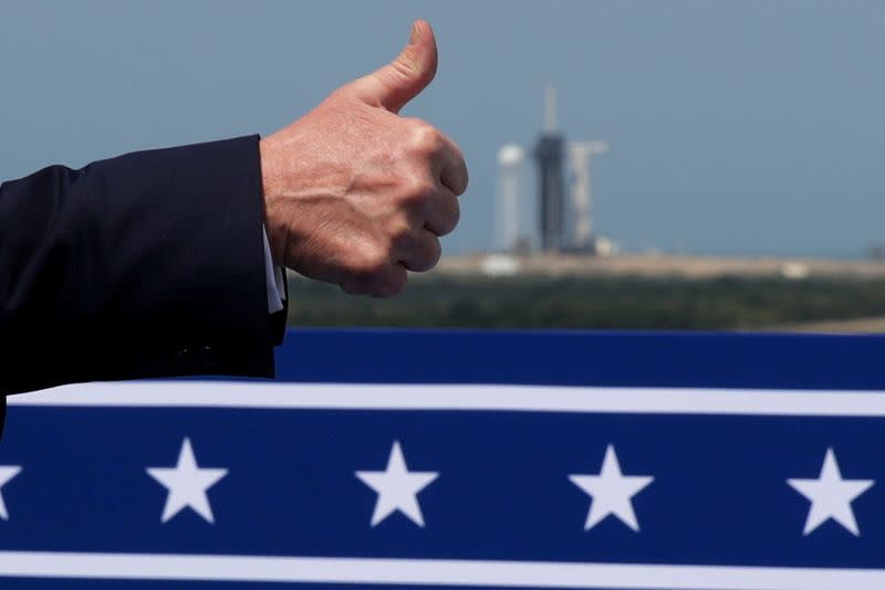 FILE PHOTO: U.S. President Trump arrives to watch the launch of a SpaceX Falcon 9 rocket and Crew Dragon spacecraft, from Cape Canaveral, Florida