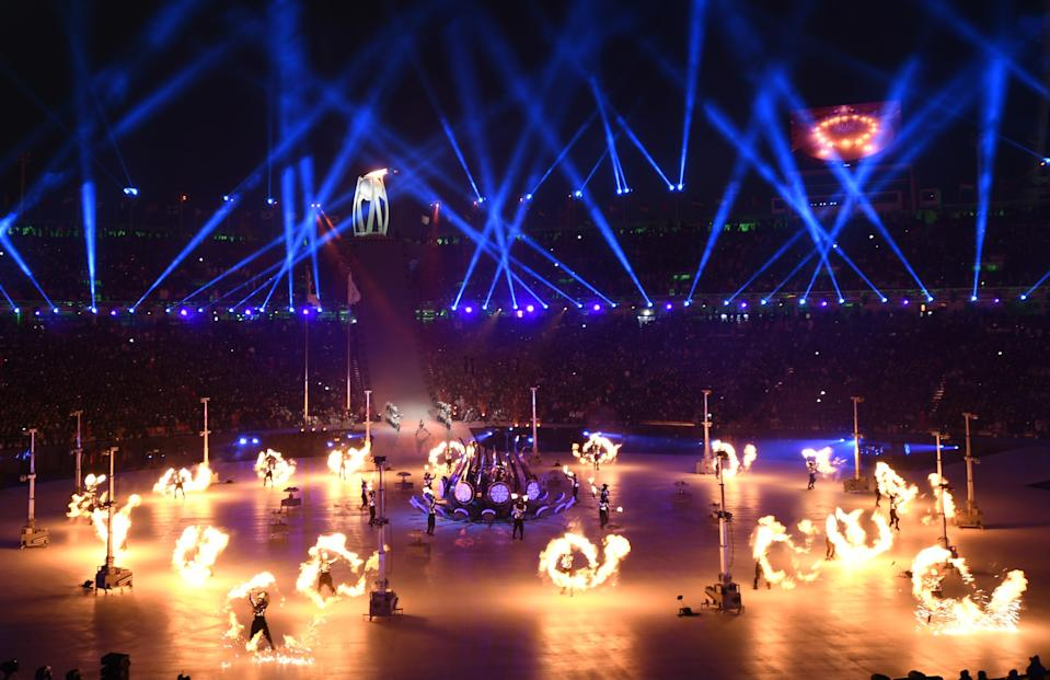 <p>The Olympic Flame is lit during the opening ceremony of the Pyeongchang 2018 Winter Olympic Games at the Pyeongchang Stadium on February 9, 2018. / AFP PHOTO / Jonathan NACKSTRAND </p>