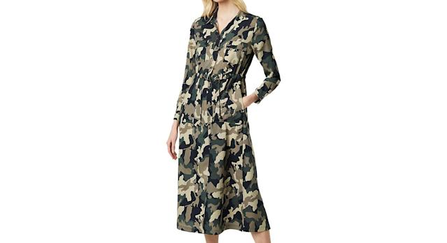 French Connection Camo Midi Shirt Dress