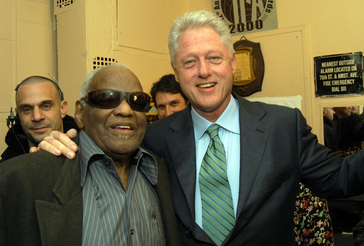Ray Charles and former President Bill Clinton during 'Willie Nelson and Friends: Live and Kickin'' Premiers on USA Network on May 26, 2003 - Rehearsal and Backstage at Beacon Theatre in New York City, New York, United States. (Photo by KMazur/WireImage)