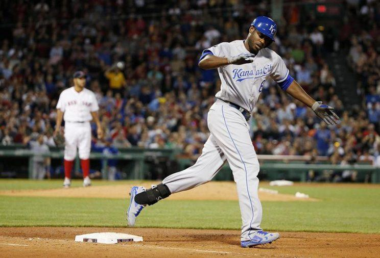 Lorenzo Cain celebrates his unlikely 302-foot home run at Fenway Park. (AP)