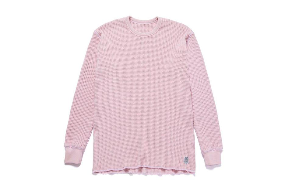 """<p><strong>Standard Issue Tees</strong></p><p>standardissuetees.com</p><p><strong>$100.00</strong></p><p><a href=""""https://standardissuetees.com/collections/shop-all/products/standard-thermal-sweater-pink?variant=39367808614499"""" rel=""""nofollow noopener"""" target=""""_blank"""" data-ylk=""""slk:Shop Now"""" class=""""link rapid-noclick-resp"""">Shop Now</a></p><p>You might not be able to get your hands on the light pink Vans x JSP collaborative chukkas—they sold out quick; no surprises there—but you can still score this phenomenally good thermal in a similar shade. (A tip: Size down.)</p>"""