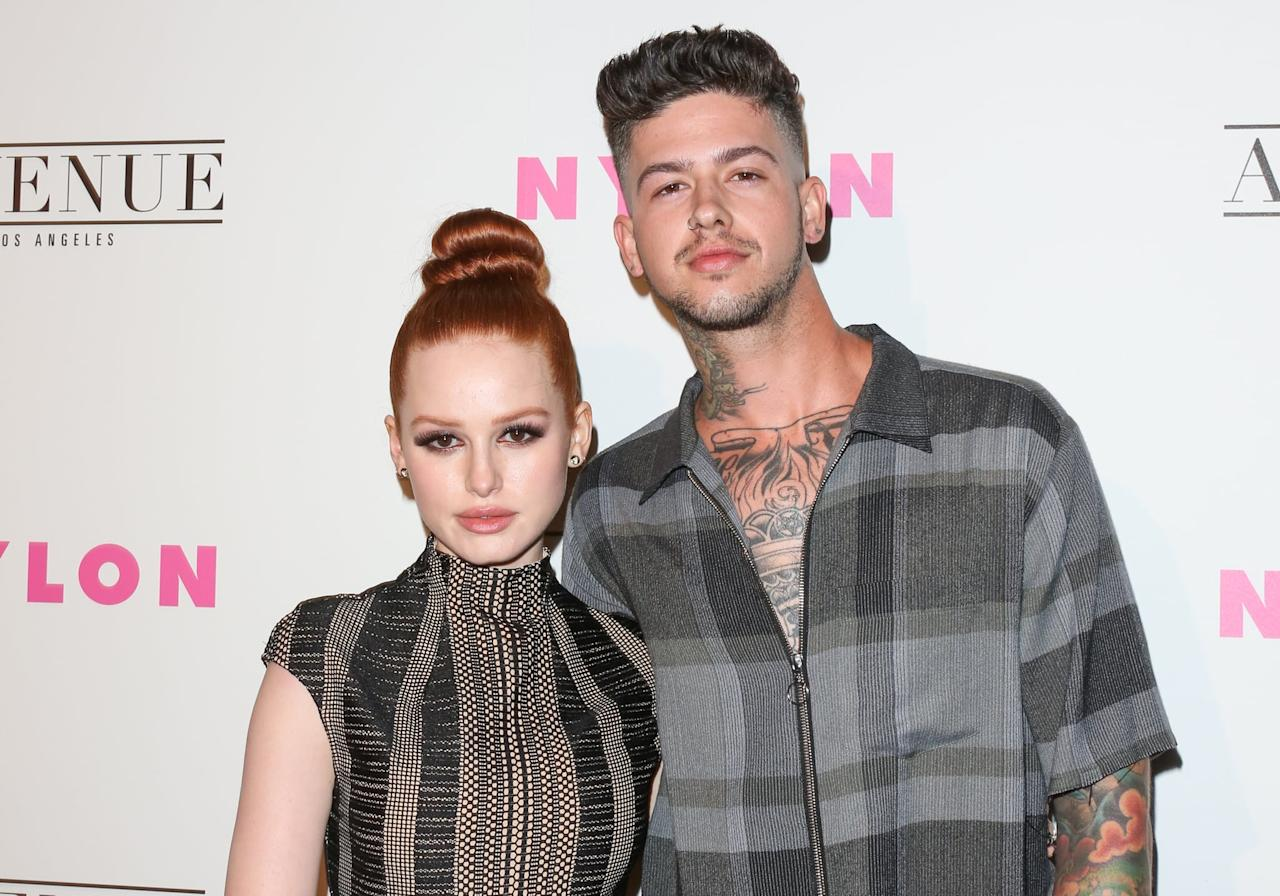 """<p>The couple stepped out in public for the first time at a """"young Hollywood"""" event, four months after they first met. Madelaine told <strong>Cosmopolitan</strong> about <a href=""""http://www.cosmopolitan.com/entertainment/tv/a12798410/madelaine-petsch-riverdale-season-2-interview/"""" target=""""_blank"""" class=""""ga-track"""" data-ga-category=""""Related"""" data-ga-label=""""http://www.cosmopolitan.com/entertainment/tv/a12798410/madelaine-petsch-riverdale-season-2-interview/"""" data-ga-action=""""In-Line Links"""">how they first crossed paths</a> - as it turns out, they can thank Facebook for their connection. </p> <p>""""He messaged me on Facebook in January of season one and congratulated me on the show. He had auditioned for Jughead. I think we just randomly had mutual friends, so we added each other. We kept in touch very rarely, not even that much, from January to February, and then the day I got back from season one in February I was bored in L.A., believe it or not,"""" she described. """"I was like, """"What am I gonna do?"""" I got my hair cut and he texted me like, """"Let's go to a movie!"""" We hung out and spent every single day together that I've been in L.A. since then, since February.</p>"""