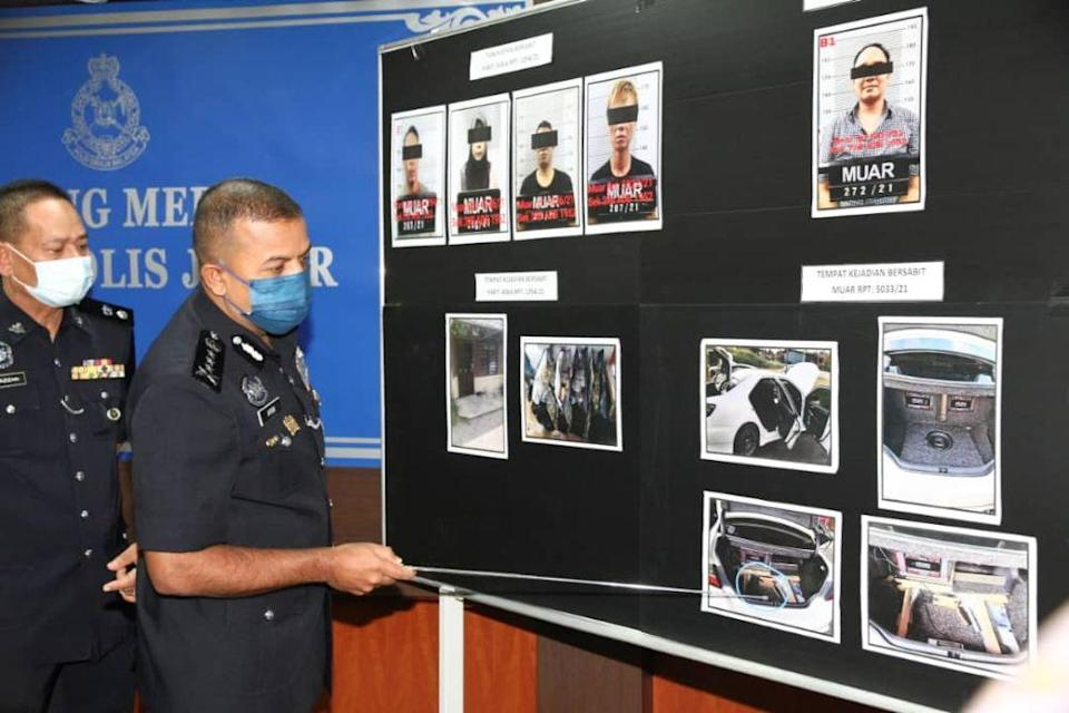 Johor police chief Datuk Ayob Khan Mydin Pitchay details the drug-smuggling modus operandi of the suspects during a media conference at the state police contingent headquarters in Johor Baru May 18, 2021. — Picture by Ben Tan