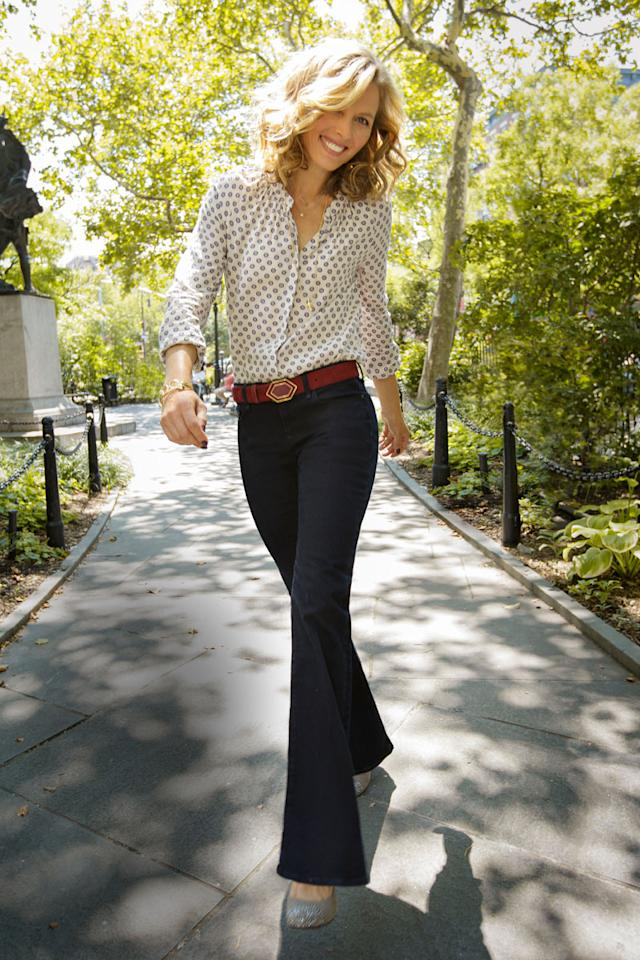 """<div class=""""caption-credit""""> Photo by: Ari Michelson</div><div class=""""caption-title"""">Shocker: She's 46</div>And she looks this good thanks to great genes and great jeans. The key here is a waistband that falls right below your navel, which streamlines your midsection without cutting into you. Plus, the slightly belled bottoms make your hips seem narrower by comparison. <br> <br> Gap Modern Boot jeans, $59.95. Star necklace, BaubleBar, $28. Pendant necklace, Sarah Aghili, $10.80. Blouse, $88. Belt, Vince Camuto, $45. Bangle, DKM Accessories, $24. Pyramid bangle, Three Jane, $14. Shoes, Jessica Simpson Collection, $79. <br> <br> <ul>  <li>  <b><a rel=""""nofollow"""" target="""""""" href=""""http://www.redbookmag.com/beauty-fashion/tips-advice/fall-2013-trends?link=rel&dom=yah_life&src=syn&con=blog_redbook&mag=rbk"""">39 Looks That Make Us Excited for Fall</a></b>  </li>  <li>  <a rel=""""nofollow"""" target="""""""" href=""""http://www.redbookmag.com/beauty-fashion/tips-advice/fall-cardigans?link=rel&dom=yah_life&src=syn&con=blog_redbook&mag=rbk""""><b>These Cardigans Will Be the Most Useful Items In Your Closet</b></a>  </li> </ul>"""