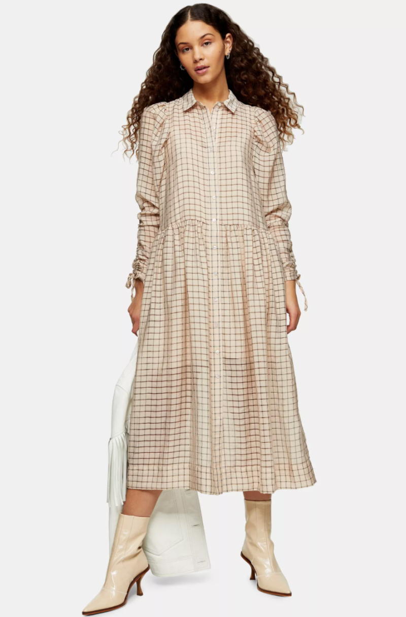 Ecru Check Organza Shirt Dress. Image via Topshop.