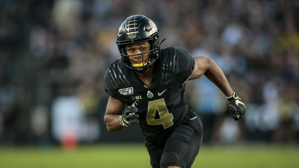 Purdue wide receiver Rondale Moore (4) in action as TCU played Purdue in an NCAA football game on Saturday, Sept. 14, 2019 in West Lafayette, Ind. (AP Photo/AJ Mast)