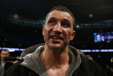 Wladimir Klitschko speaks to the fans after the fight