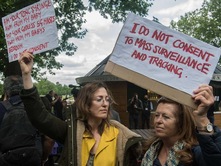 Conspiracy theorists at Hyde Park Corner on 16 May 2020 in London: Getty