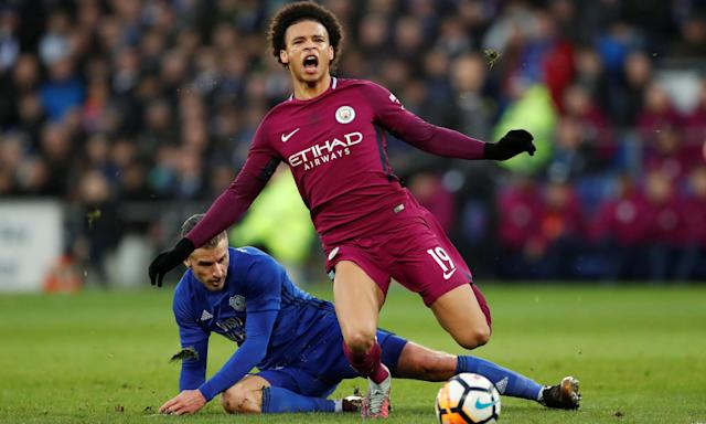 Leroy Sané is fouled by Cardiff City's Joe Bennett. Sané did not reappear for the second half, leading Pep Guardiola to complain about lack of protection from referees.