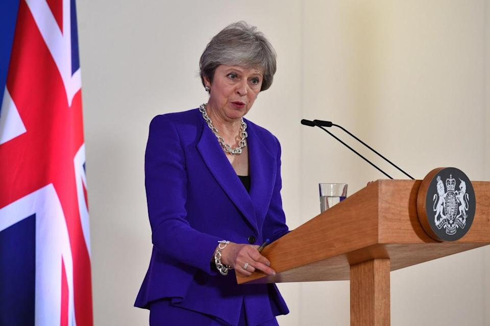Theresa May addresses a press conference on the sidelines of a EU summit at the European Council in Brussels (AFP/Getty Images)