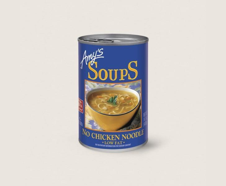 "<p>""<span>Amy's No Chicken Noodle Soup</span> ($3) is the ultimate comfort food that makes me feel like I'm a kid again (but it simultaneously satisfies my vegan needs). Even if I'm not sick, I love to curl up on the couch with a bowl of it and catch up on bad TV."" - Gina Florio, editor, Fitness</p>"
