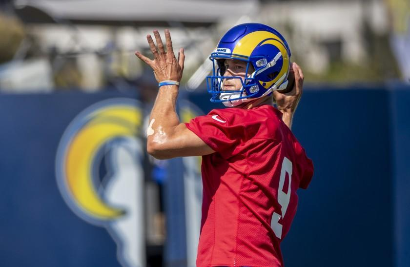 IRVINE, CA - JULY 28, 2021: Rams starting quarterback Matthew Stafford looks to pass on the first day of training camp at UC Irvine on July 28, 2021 in Irvine, California.(Gina Ferazzi / Los Angeles Times)