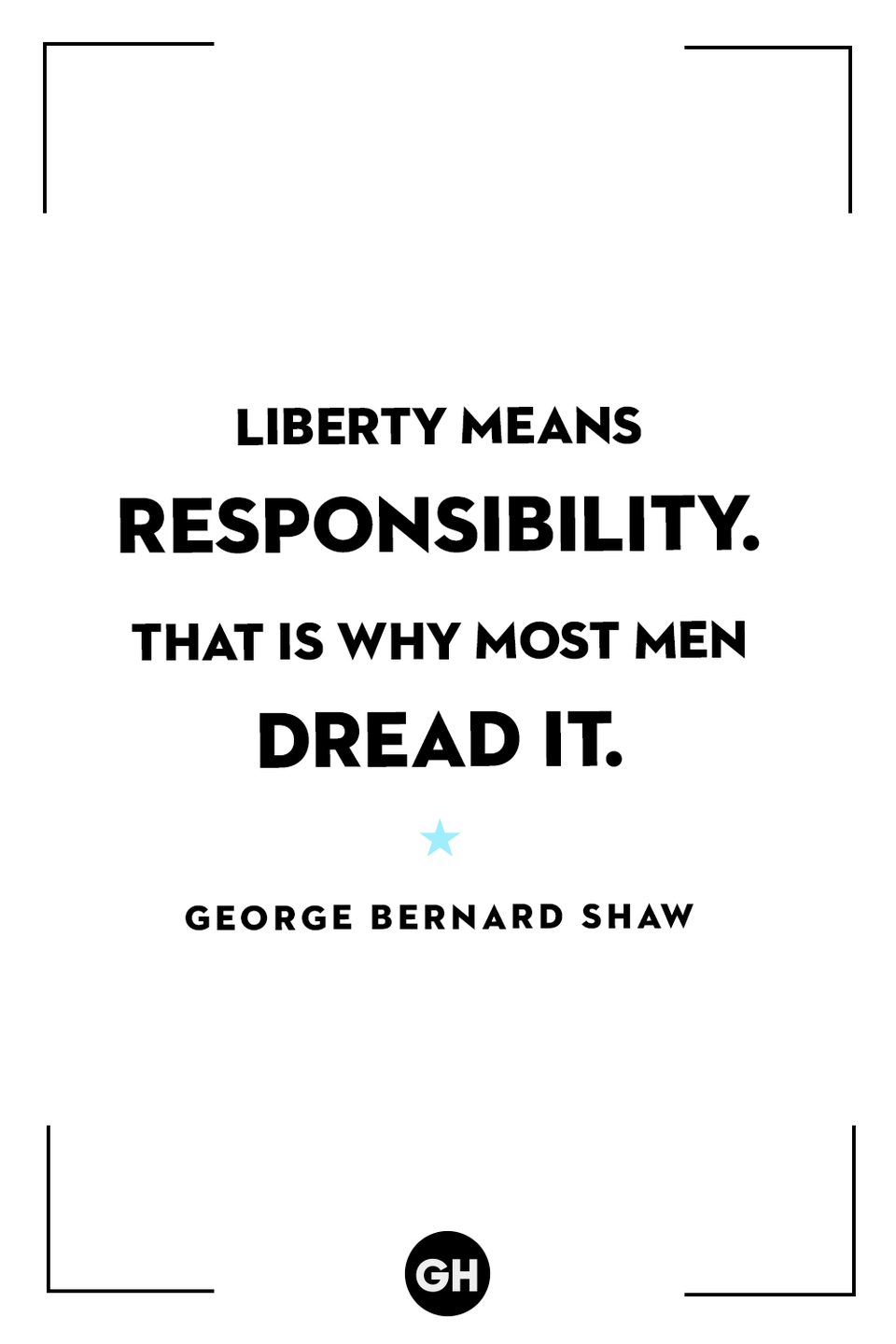 <p>Liberty means responsibility. That is why most men dread it.</p>