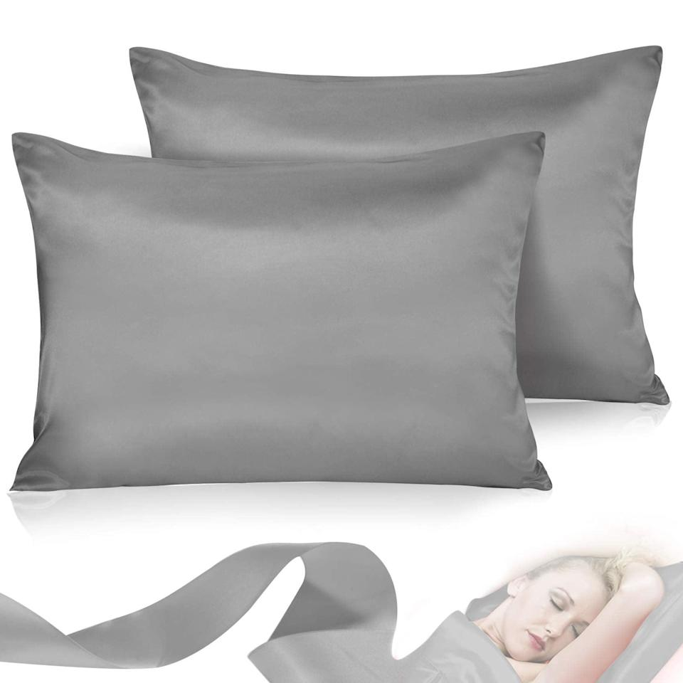 """<h2>Satin Pillowcase for Hair and Skin</h2><br><br><strong>Leccod</strong> Satin Pillowcase for Hair and Skin, $, available at <a href=""""https://amzn.to/3lUjyEz"""" rel=""""nofollow noopener"""" target=""""_blank"""" data-ylk=""""slk:Amazon"""" class=""""link rapid-noclick-resp"""">Amazon</a>"""