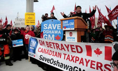 Unifor national president Dias addresses GM assembly workers and supporters protesting GM's announcement to close its Oshawa assembly plant during a rally in Windsor