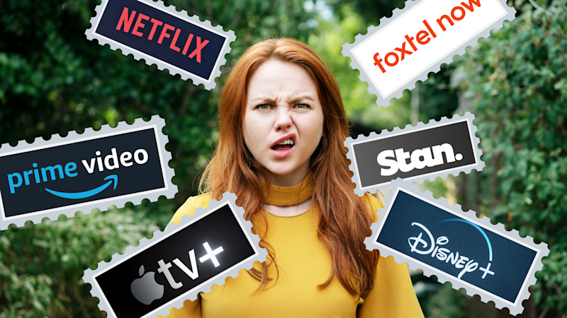 Pictured: Confused young woman surrounded by Netflix, Prime Video, AppleTV+, Disney+, Stan now. Images: Getty, Netflix, Prime Video, AppleTV+, Disney+, Stan