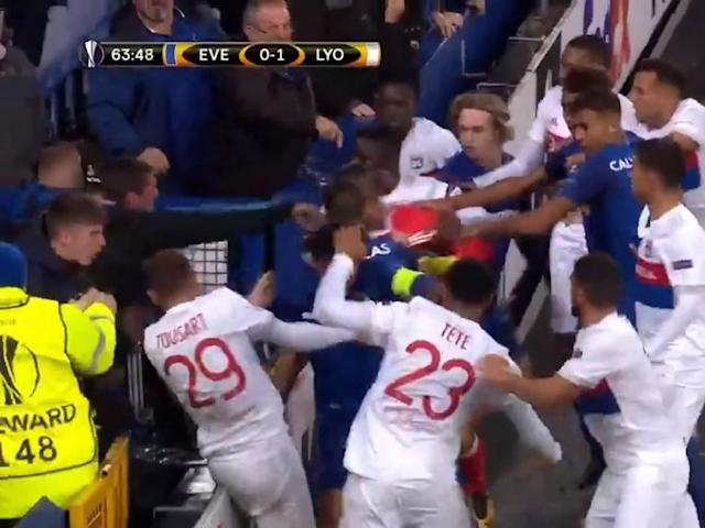 Everton fan who tried to hit Lyon player while holding his son blames players and club for allowing incident to happen