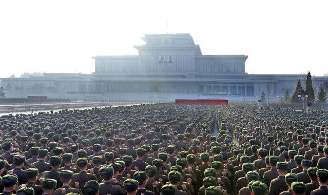 North Korean People's Army soldiers take part in a rally to swear allegiance to North Korean leader Kim Jong Un ahead of the second death anniversary of former leader Kim Jong Il at the Kumsusan Palace of the Sun