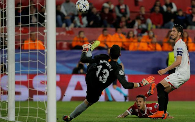 Thiago Alcantara, bottom, watches his winning header sail into the net. (The Telegraph)