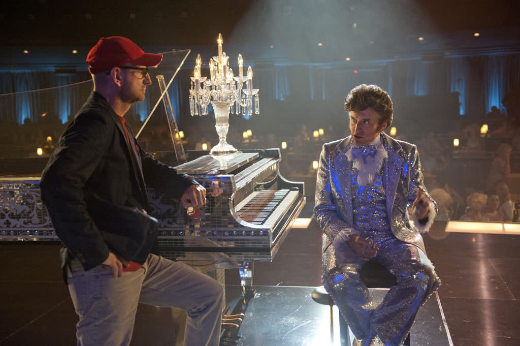 "Director Steven Soderbergh and Michael Douglas behind the scenes of the HBO Film, ""Behind the Candelabra."""