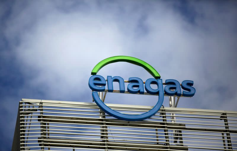 The logo of Enagas company is seen on top of their headquarters in Madrid, Spain