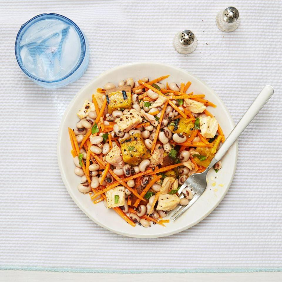 """<p>Grill some sweet potatoes. Then, toss with tuna, black-eyed peas, and carrots to make this super-satisfying salad.</p><p><em><a href=""""https://www.goodhousekeeping.com/food-recipes/easy/a33583/summer-tuna-salad-with-sweet-potato-and-basil-recipe/ """" rel=""""nofollow noopener"""" target=""""_blank"""" data-ylk=""""slk:Get the recipe for Summer Tuna Salad with Sweet Potato and Basil »"""" class=""""link rapid-noclick-resp"""">Get the recipe for Summer Tuna Salad with Sweet Potato and Basil »</a></em> </p><p><strong>RELATED: </strong><a href=""""https://www.goodhousekeeping.com/food-recipes/g657/sweet-potato-recipes/"""" rel=""""nofollow noopener"""" target=""""_blank"""" data-ylk=""""slk:35 Best Sweet Potato Recipes You'll Ever Try"""" class=""""link rapid-noclick-resp"""">35 Best Sweet Potato Recipes You'll Ever Try</a></p>"""
