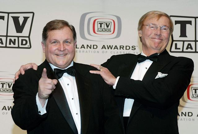 "<p>Burt Ward (l) and Adam West of ""Batman"" attend the 4th annual TV Land Awards held at the Barker Hangar in Santa Monica, Calif., on March 19, 2006. (Photo: Phil McCarten/Reuters) </p>"