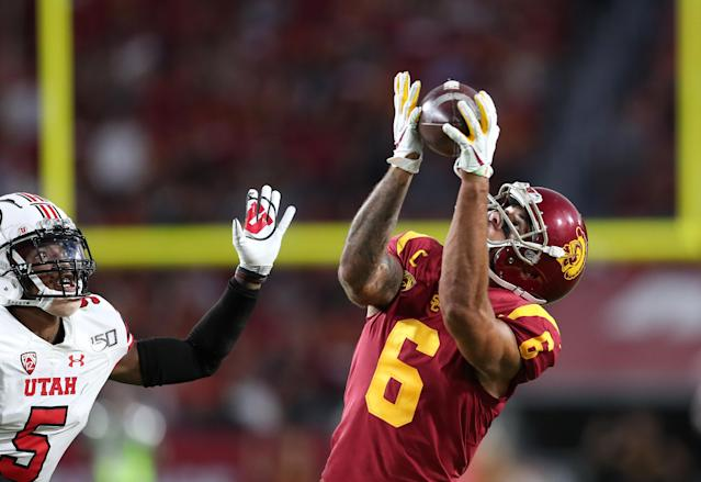 USC wide receiver Michael Pittman Jr. caught 10 passes for 232 yards in a win over Utah. (Photo by Meg Oliphant/Getty Images)