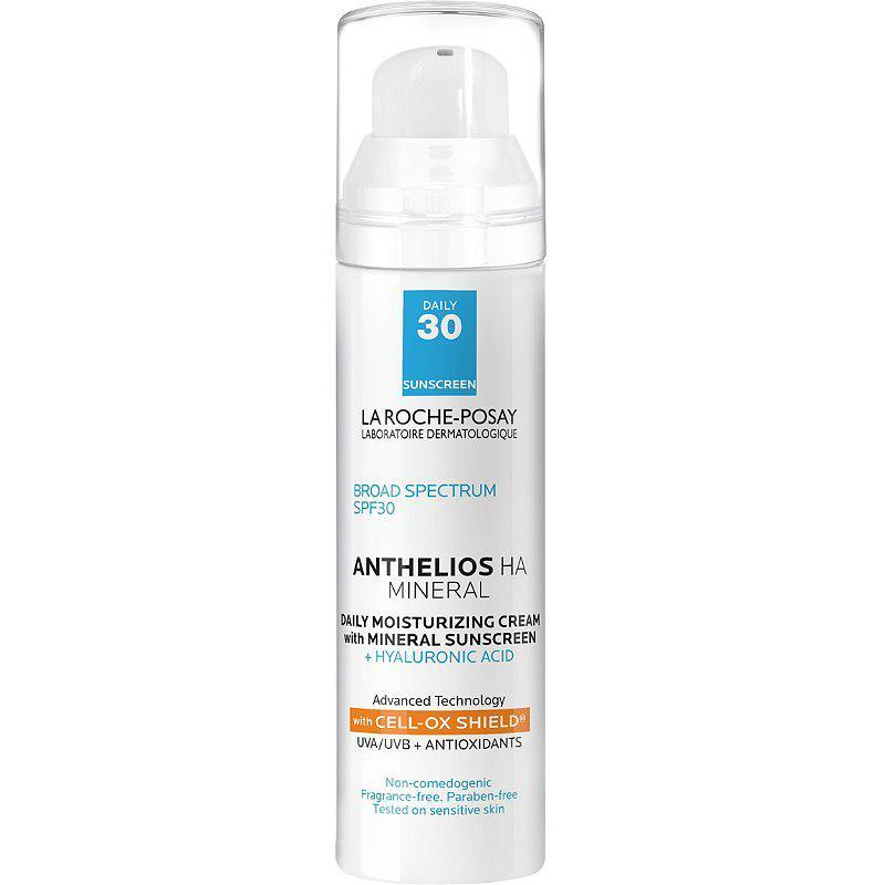 """<p>This sunscreen also hydrates skin thanks to two tried-and-true skincare ingredients: hyaluronic acid and glycerin.</p> <p><strong>Buy It!</strong> La Roche-Posay Anthelios HA Mineral Moisturizer SPF 30, $35; <a href=""""https://www.laroche-posay.us/sunscreen/sunscreen-product-type/face-sunscreen/anthelios-mineral-spf-moisturizer-with-hyaluronic-acid-3606000546028.html"""" rel=""""sponsored noopener"""" target=""""_blank"""" data-ylk=""""slk:laroche-posay.us"""" class=""""link rapid-noclick-resp"""">laroche-posay.us</a></p>"""