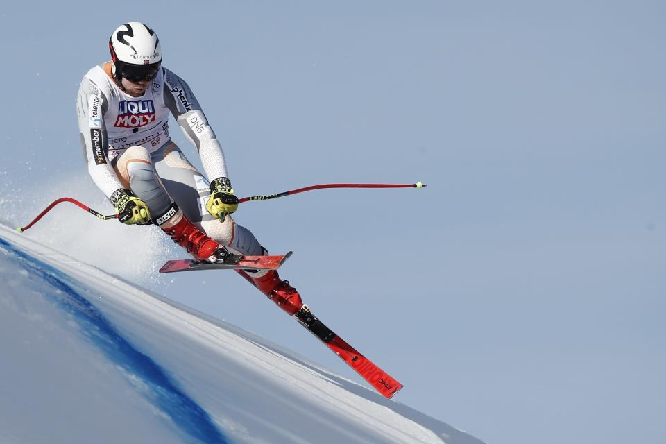 Norway's Aleksander Aamodt Kilde speeds down the course during training for an alpine ski, men's World Cup downhill in Kvitfjell, Norway, Friday, March 6, 2020. (AP Photo/Gabriele Facciotti)