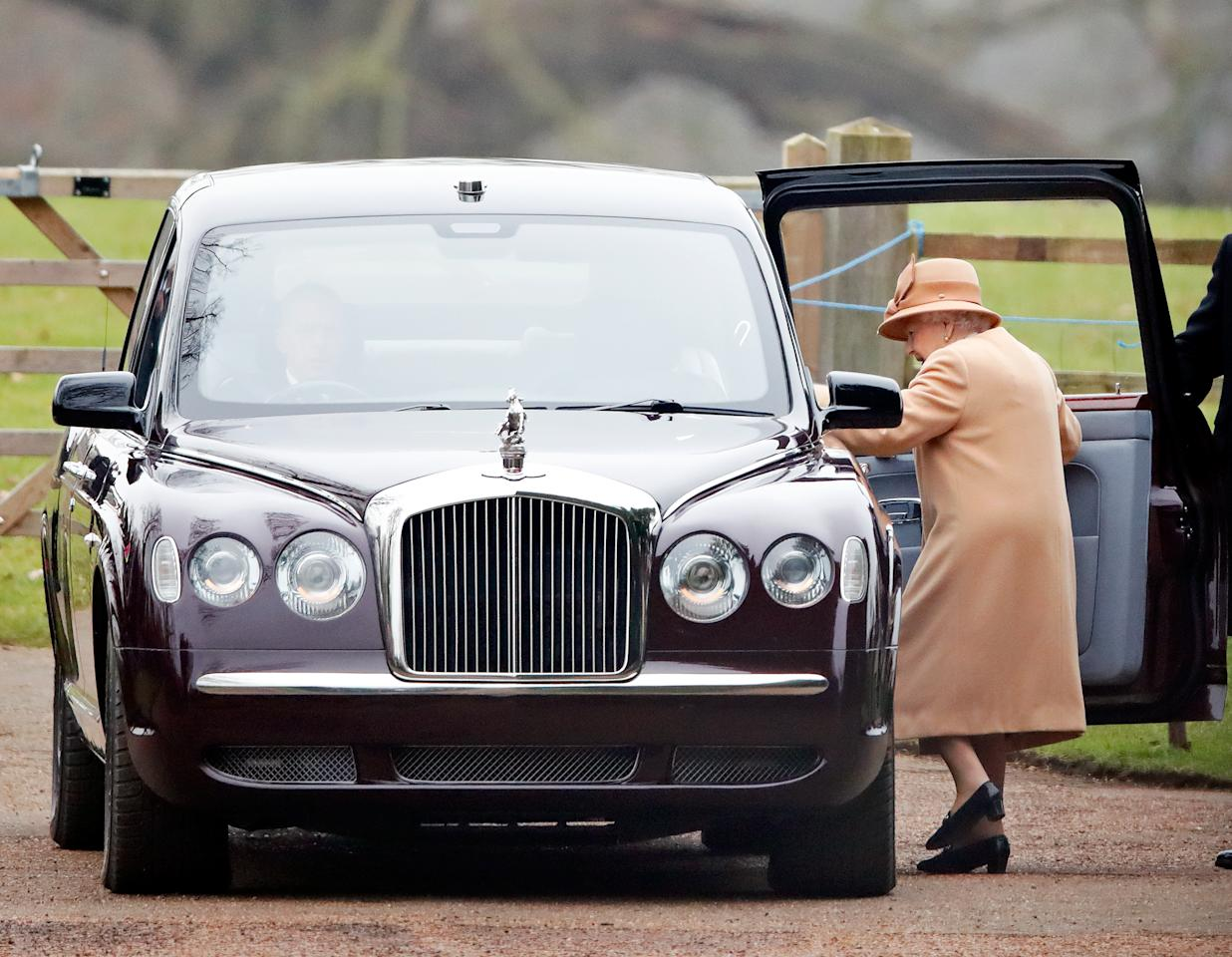 <p>Queen Elizabeth, 92, was also seen leaving the service. Photo: Getty </p>