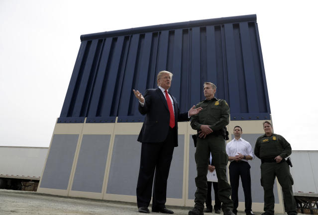 "<p> President Donald Trump reviews border wall prototypes, Tuesday, March 13, 2018, in San Diego. During the visit Trump said, ""It will save thousands and thousands of lives, save taxpayers hundreds of billions of dollars by reducing crime, drug flow, welfare fraud and burdens on schools and hospitals. The wall will save hundreds of billions of dollars — many, many times what it is going to cost. ... We have a lousy wall over here now but at least it stops 90, 95 percent. When we put up the real wall, we're going to stop 99 percent, maybe more than that."" However, Congress' main watchdog found that the government does not have a way to show how barriers prevent illegal crossings from Mexico. A Government Accountability Office report last year said U.S. Customs and Border Protection ""cannot measure the contribution of fencing to border security operations along the southwest border because it has not developed metrics for this assessment.""(AP Photo/Evan Vucci) </p>"