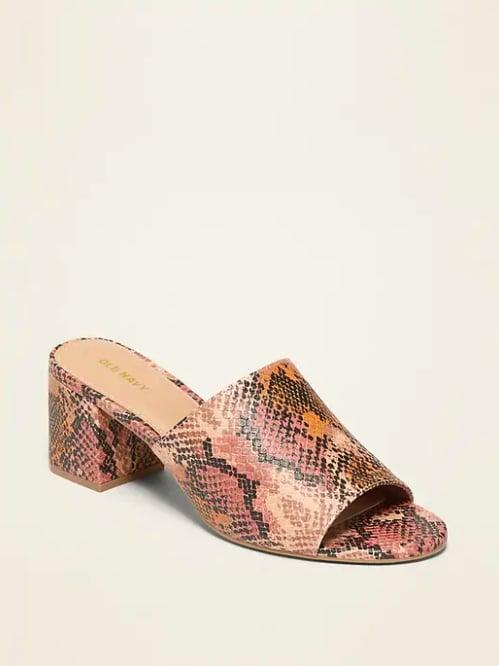 "<p>The snakeskin trend looks like it's sticking around, and luckily, these <a href=""https://www.popsugar.com/buy/mules-476389?p_name=mules&retailer=oldnavy.gap.com&pid=476389&price=35&evar1=fab%3Auk&evar9=46463448&evar98=https%3A%2F%2Fwww.popsugar.com%2Ffashion%2Fphoto-gallery%2F46463448%2Fimage%2F46463465%2FFaux-Snakeskin-Block-Heel-Mule-Sandals&prop13=api&pdata=1"" rel=""nofollow"" data-shoppable-link=""1"" target=""_blank"" class=""ga-track"" data-ga-category=""Related"" data-ga-label=""http://oldnavy.gap.com/browse/product.do?pid=480417012&amp;cid=55150&amp;pcid=55147&amp;grid=pds_173_272_1#pdp-page-content"" data-ga-action=""In-Line Links"">mules</a> ($35) are versatile enough to wear well into the Fall. </p>"