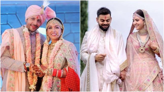 Bollywood singer, Neeti Mohan exchanged marital vows with Manikarnika actor, Nihaar Pandya on February 15, 2019. Neeti wore a lehenga which looked exactly like the one Anushka Sharma wore on her wedding day.