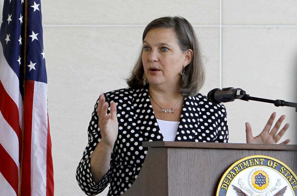 FILE - In this July 11, 2016, file photo U.S. Assistant Secretary of State for European and Eurasian Affairs Victoria Nuland talks to the media at a news conference at the U.S. Embassy in Skopje, Macedonia. The United States and Germany have reached a deal that will allow the completion of a controversial Russian gas pipeline to Europe without the imposition of further U.S. sanctions, a senior U.S. official said Wednesday, July 21, 2021. Under Secretary of State for Political Affairs Victoria Nuland told Congress that the two governments would shortly announce details of the pact that is intended to address U.S. and eastern and central European concerns about the impact of the Nord Stream 2 project. (AP Photo/Boris Grdanoski, File)