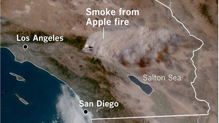 Satellite image shows smoke from the Apple fire stretching across half of Southern California