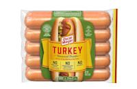 """<p>Calories: 100<br>Fat: 7 grams<br>Sodium: 380 milligrams<br>Cholesterol: 8 milligrams<br><br>Oscar Mayer Turkey Uncured Franks have just 100 calories per hot dog, which leaves plenty of room in your diet for <a href=""""https://www.thedailymeal.com/cook/best-grilling-ideas-recipes?referrer=yahoo&category=beauty_food&include_utm=1&utm_medium=referral&utm_source=yahoo&utm_campaign=feed"""" rel=""""nofollow noopener"""" target=""""_blank"""" data-ylk=""""slk:other great grilled dishes"""" class=""""link rapid-noclick-resp"""">other great grilled dishes</a>. If you're following a low-sodium or low-cholesterol diet, these are also a good option with 380 milligrams of sodium and just 8 milligrams of cholesterol.</p>"""