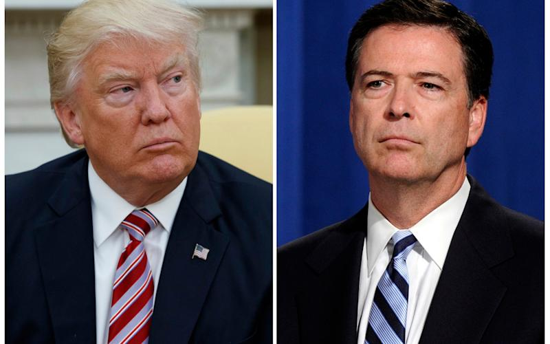 In this combination photo, President Donald Trump, left, appears in the Oval Office of the White House in Washington on May 10, 2017, and FBI Director James Comey appears at a news conference in Washington  - AP