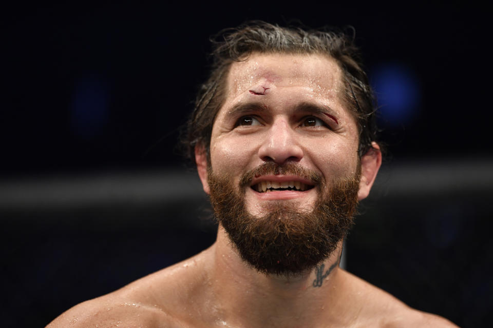 ABU DHABI, UNITED ARAB EMIRATES - JULY 12: Jorge Masvidal reacts after his decision loss to Kamaru Usman in their UFC welterweight championship fight during the UFC 251 event at Flash Forum on UFC Fight Island on July 12, 2020 on Yas Island, Abu Dhabi, United Arab Emirates. (Photo by Jeff Bottari/Zuffa LLC)