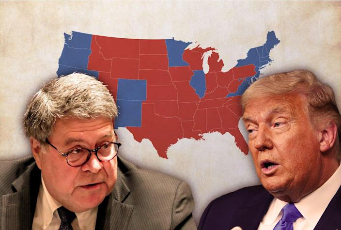 Bill Barr, Donald Trump and an electoral map of the USA