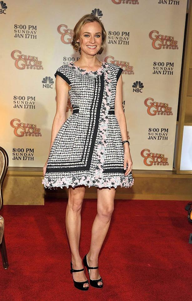 "Diane Kruger, the newly crowned global spokesmodel for L'Oreal, announced the nominations for the 67th Annual Golden Globe Awards at the Beverly Hilton Tuesday morning in a very cute, tweed Chanel dress. Sweetness. John Shearer//<a href=""http://www.wireimage.com"" target=""new"">WireImage.com</a> - December 15, 2009"