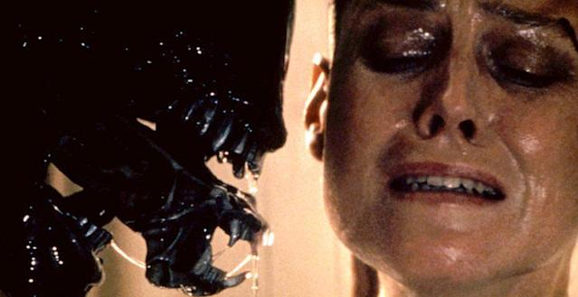 Weaver as Ripley and an out of frame Woodruff as the Alien in 'Alien 3' (Photo: Everett) <br>