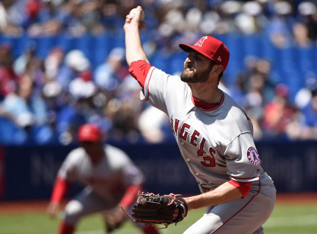 Los Angeles Angels starting pitcher Nick Tropeano works against the Toronto Blue Jays during the first inning of a baseball game in Toronto, Thursday, May 24, 2018. (Nathan Denette/The Canadian Press via AP)